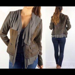 Anthro hei hei Brown Vegan leather draped jacket
